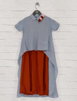 Grey hue designer two piece cotton kurti dress