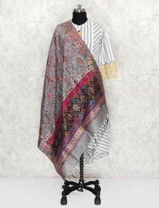 Grey hue dupatta in pashmina silk fabric