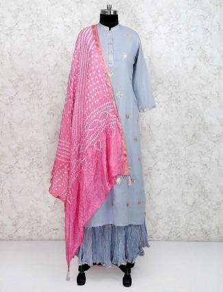 Grey hue festive cotton silk fabric lehenga cum suit
