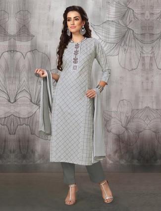 Grey hue festive wear cotton fabric punjabi salwar suit