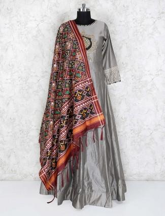 Grey hue floor length anarkali salwar suit in cotton silk