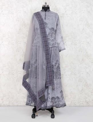 Grey hue georgette festive floor length salwar suit
