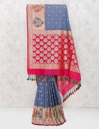 Grey hue gorgeous banarasi semi silk amazing saree