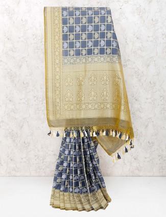Grey hue gorgeous banarasi semi silk saree