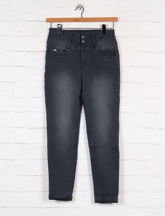 Grey hue high waist denim slim fit jeans