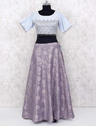 Grey hue lovely lehenga choli in banarasi silk