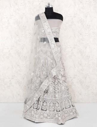 Grey hue lovely net fabric party lehenga choli
