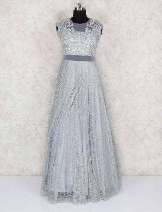 Grey hue net fabric party wear floor length gown