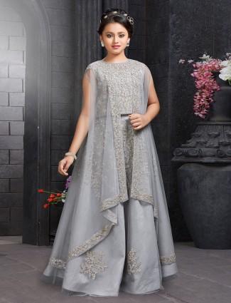 Grey hue net fabric party wear lehenga choli