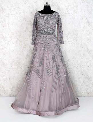Grey hue net floor length gown