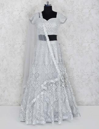 Grey hue party wear net fabric lehenga choli