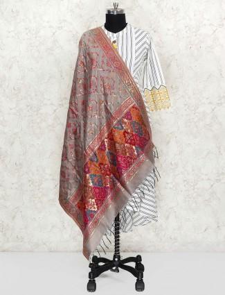 Grey hue pashmina silk dupatta