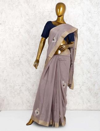 Grey hue semi silk festive wear saree