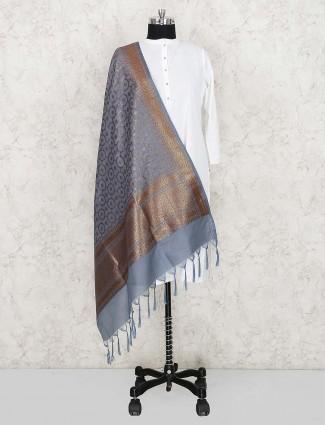 Grey hued dupatta in silk fabric