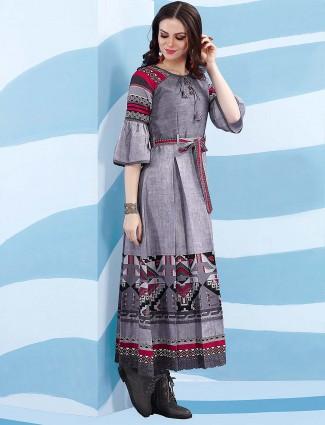 Grey hued kurti in cotton fabric