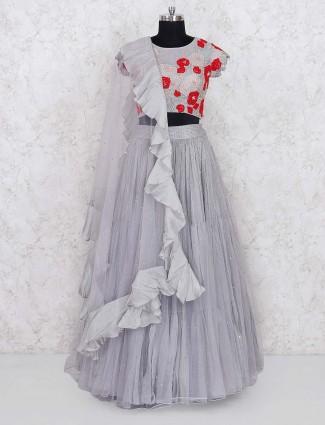 Grey hued net fabric party wear lehenga choli
