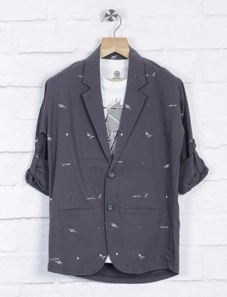 Grey hued printed cotton boys blazer