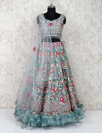 Grey lehenga choli wedding wear net