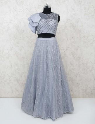 Grey net cutdana,sequins work lehenga choli