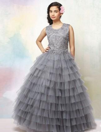 Grey net fabric designer floor length gown