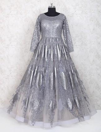 Grey net fabric party wear designer gown