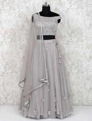 Grey net fabric party wear lehenga choli