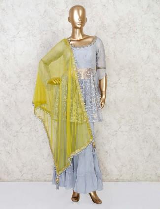 Grey party wear punjabi sharara suit in net