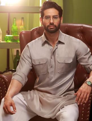 Grey plain cotton festive wear pathani suit