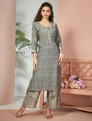 Grey printed cotton silk simple palazzo set