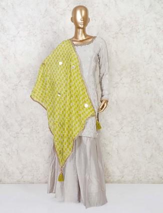 Grey punjabi palazzo suit in satin silk