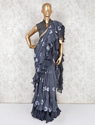 Grey satin ruffle saree with ready made blouse