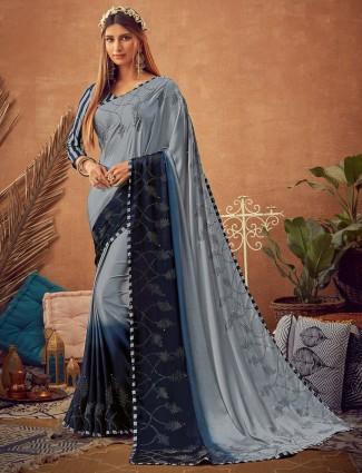 Grey satin saree in festive function