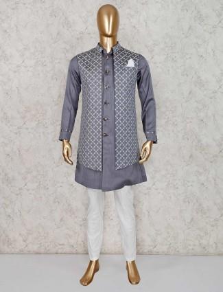 Grey silk full sleeves waistcoat set for party