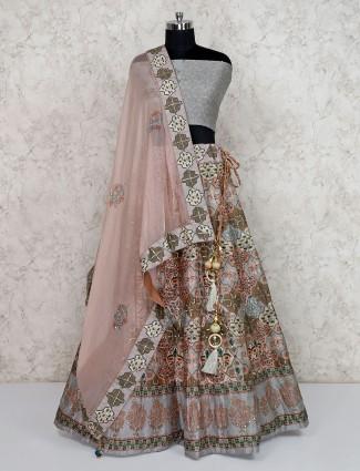 Grey silk printed semi stitched lehenga choli