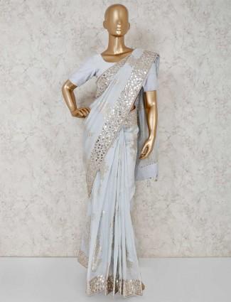 Grey silk reception wear saree