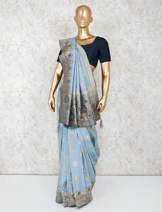 Grey silk saree for festive function