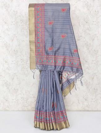 Grey sober cotton saree