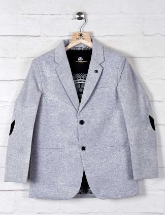 Grey solid black terry rayon boys blazer