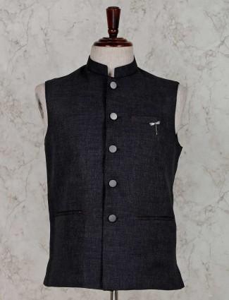 Grey solid stand collar waistcoat