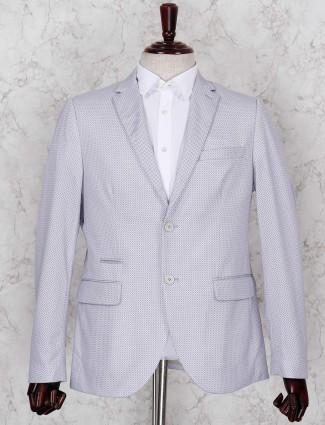 Grey terry rayon fabric printed blazer