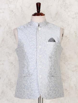 Grey thread woven  cotton silk mens waist coat