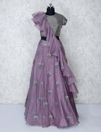 Grey tissue silk lehenga choli for party wear