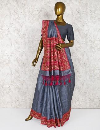 Grey wedding silk fabric saree