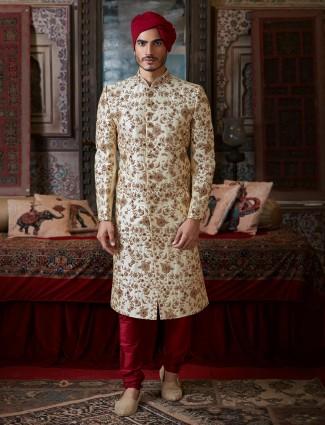 Groom wedding sherwani in cream raw silk