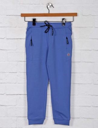 Gusto solid blue cotton boys payjama