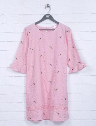 Hakoba pattern pink color cotton top