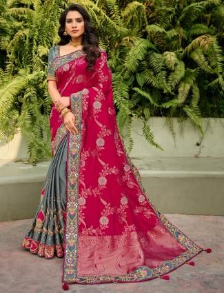 Half and half grey and magenta saree for wedding