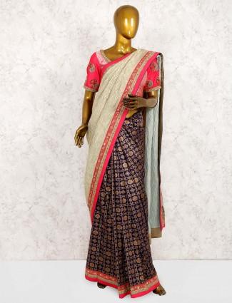 Half and half pure silk saree in blue