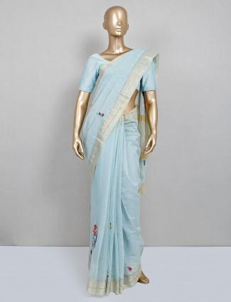 Handloom cotton festive wear sky saree