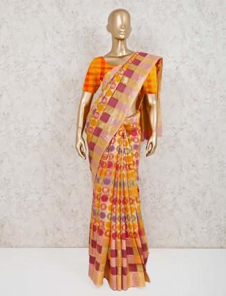 Handloom cotton silk checks orange saree
